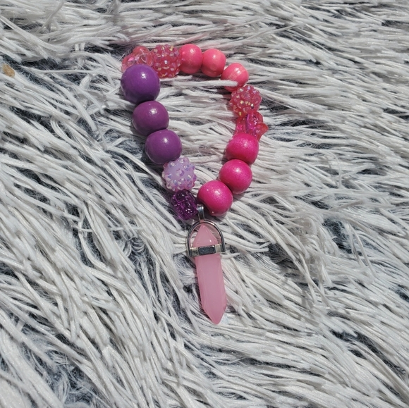 Handmade girls rose Quartz bubble gum bracelet